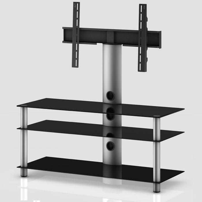 Mueble TV NEO Serie 1 - 3 Estantes silver/negro 130 cm