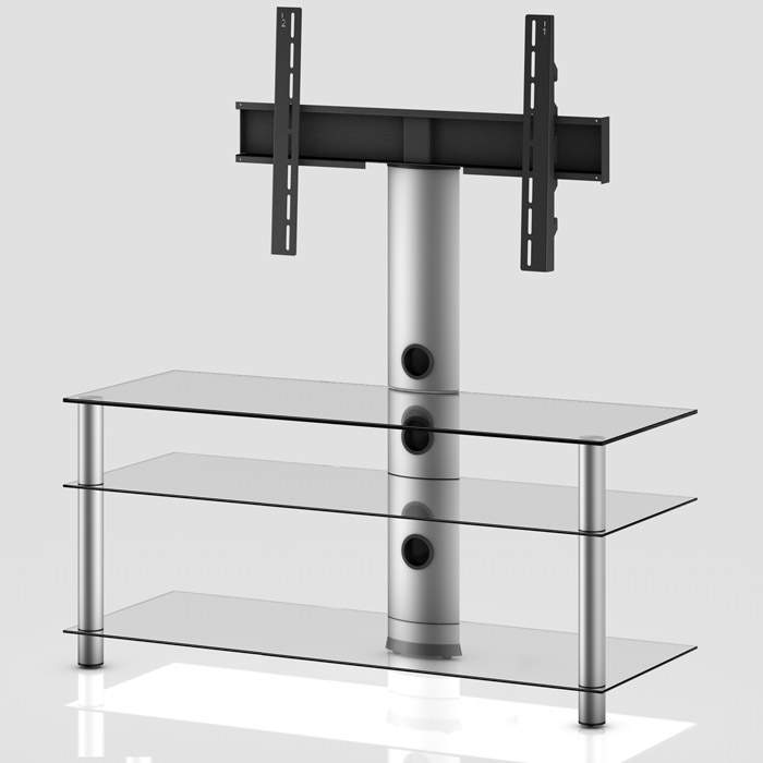 Mueble TV NEO Serie 1 - 3 Estantes silver/transparente 110 cm silver/transparente 130 cm