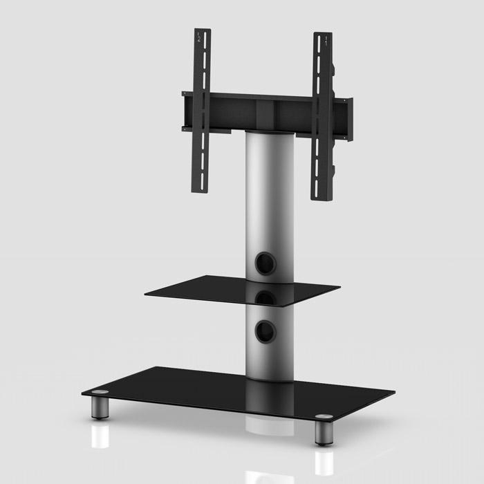 Peana TV con estante NEO-81 silver/negro