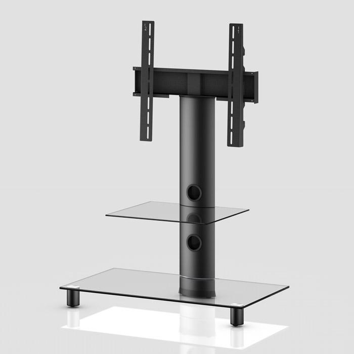 Peana TV con estante NEO-81 negro/transparente