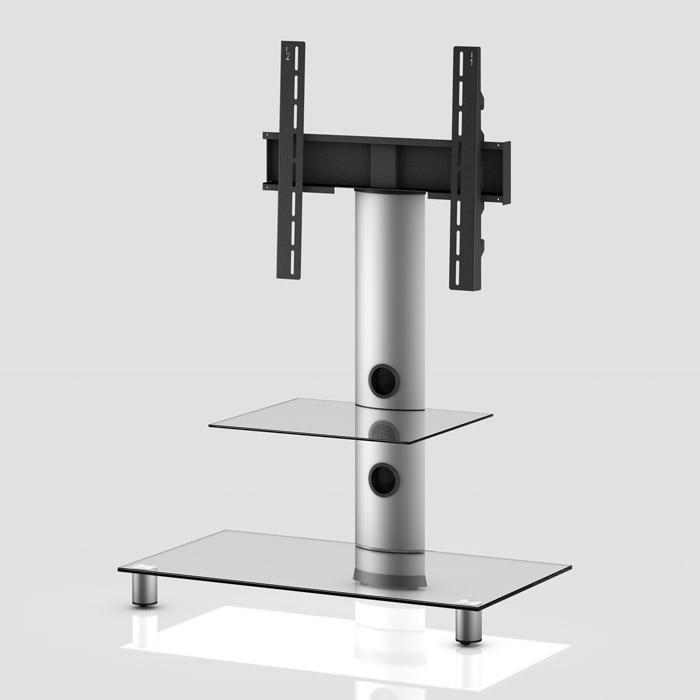 Peana TV con estante NEO-81 silver/transparente