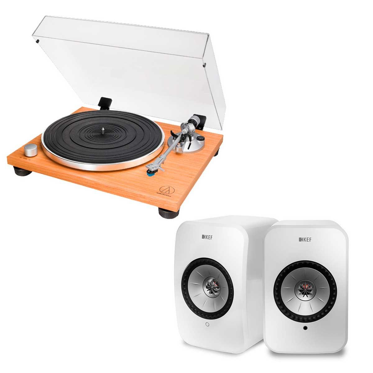 Audio-Technica AT-LPW30TK + KEF LSX blanco