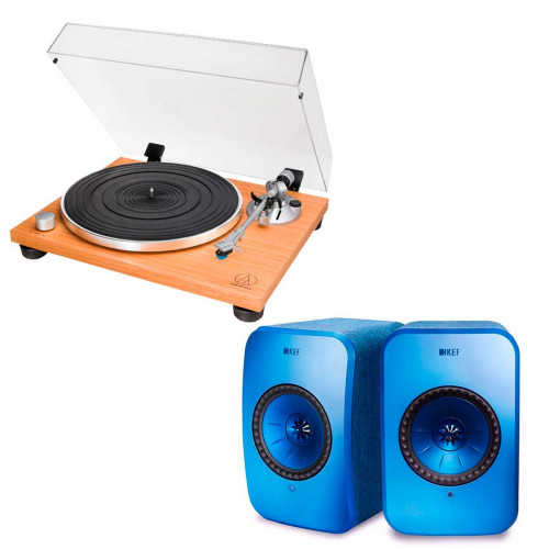 Audio-Technica AT-LPW30TK + KEF LSX azul