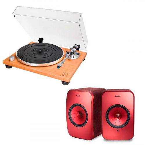 Audio-Technica AT-LPW30TK + KEF LSX rojo