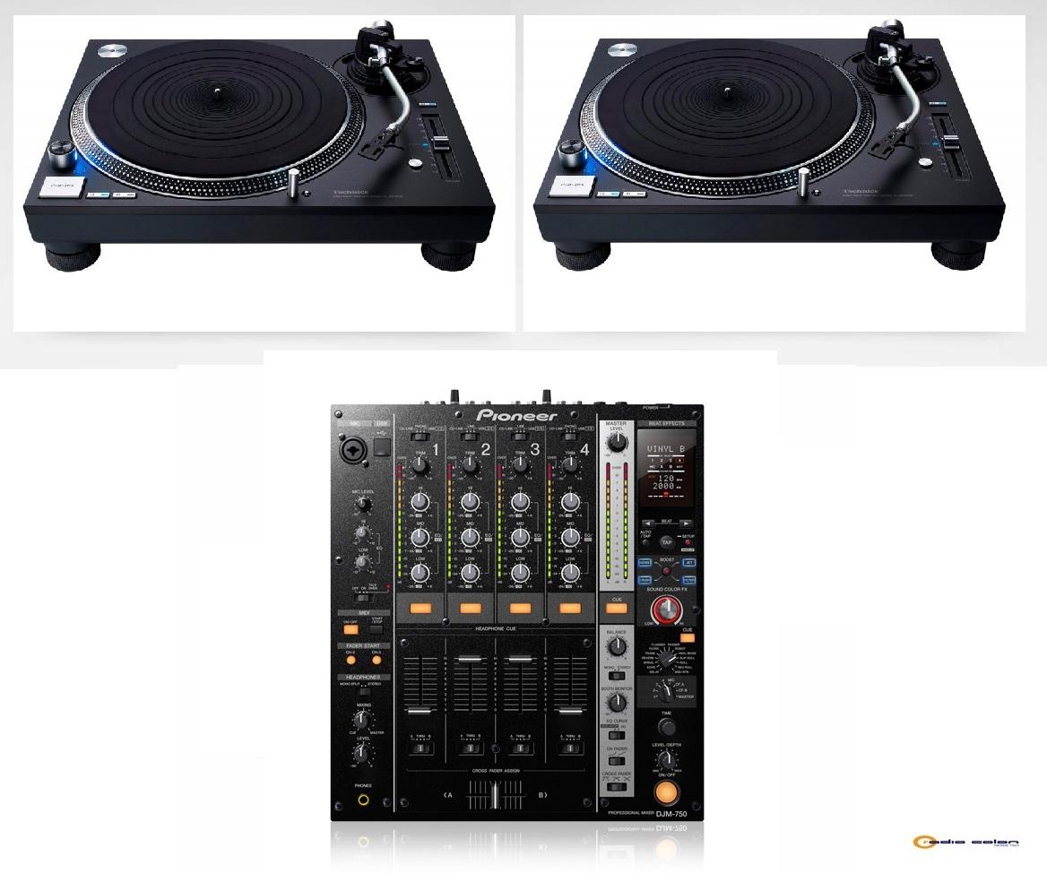 2 Technics SL1200 + Pioneer DJM750 negro
