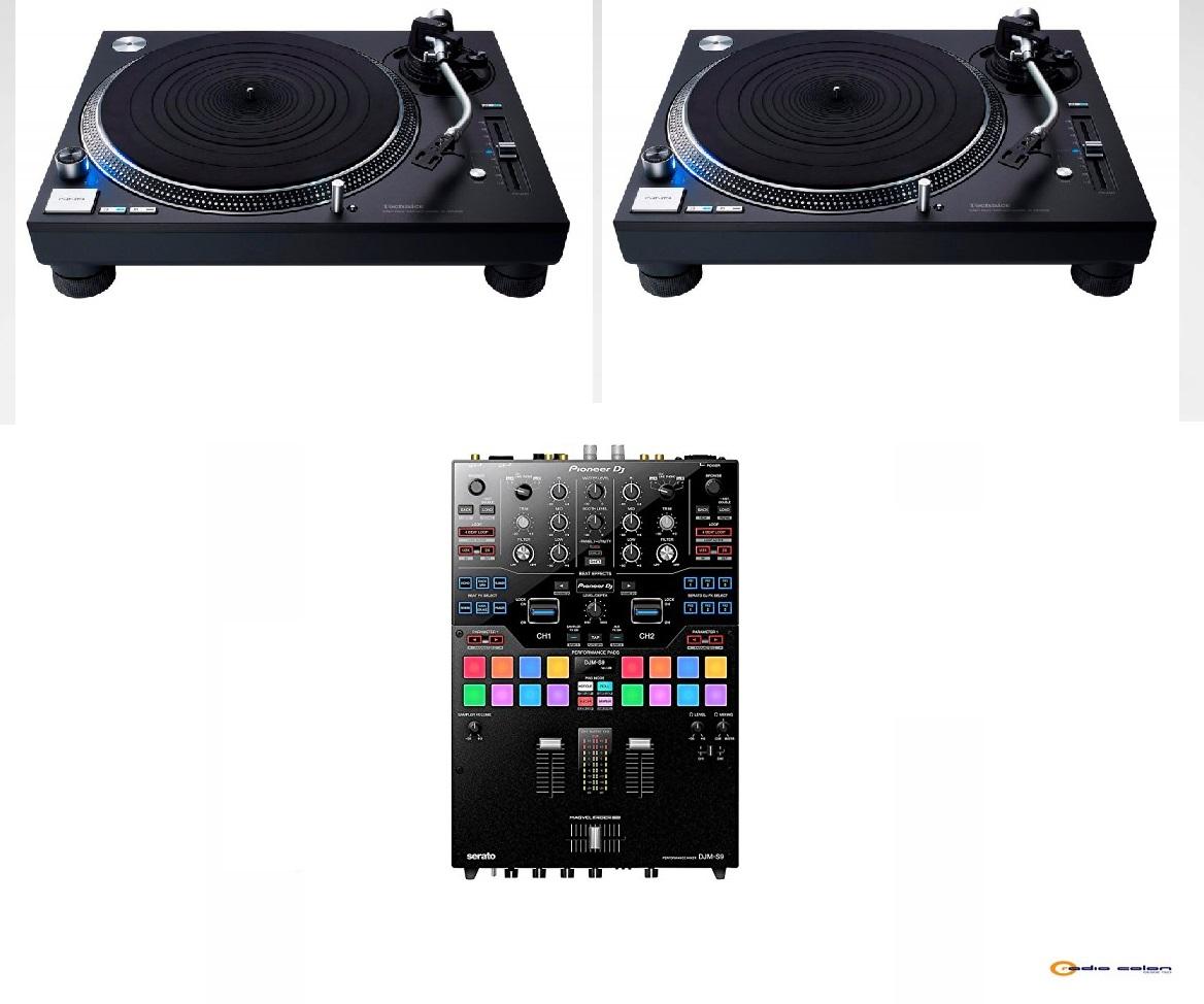 2 Technics SL1200 + Pioneer DJMS9 negro